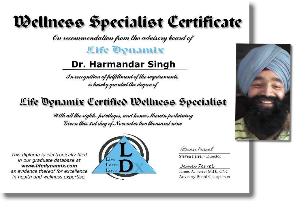 Harmandar Singh – Certified Wellness Specialist